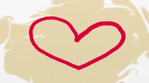 Hand drawn red heart on beige background Animation