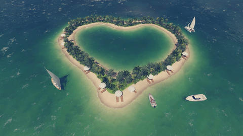 Romantic heart shaped tropical island Top view Footage