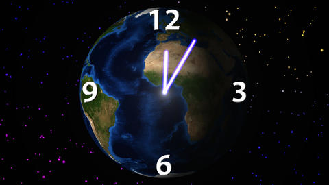 Time passage on rotating Earth background Stock Video Footage