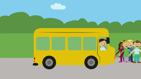 Yellow school bus with children driving in sun and rain. Animation with flat des Animation