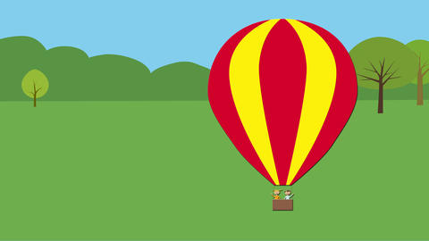 Hot air balloon with children taking off. Animated character with flat design. C Animation