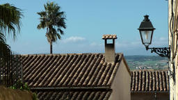 Spain Mallorca Island mountain village Montuiri 007 landscape behind rooftops Footage