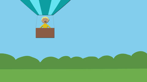 Hot air balloon with happy man flying in nature. Animated character with flat de Animation