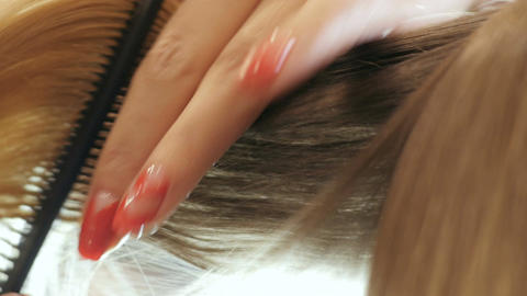 Closeup Woman Hairdresser Combs Client Blonde Hair Footage