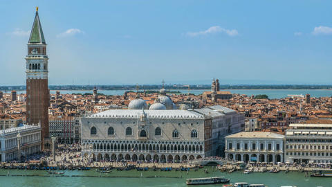 Timelapse of busy San Marco square in Venice, Italy. Many tourists and boats Footage
