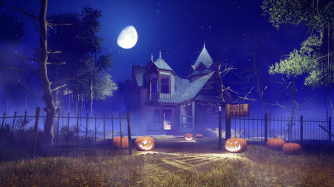 Spooky haunted house at Halloween night cinemagraph CG動画素材