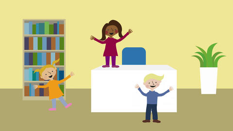 Children having fun, playing in office. Animated character with flat design. Con Animation