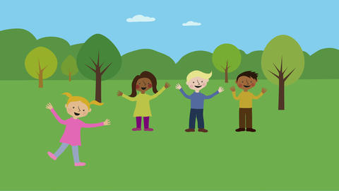 Children having fun in park. Animated character with flat design. Concept of chi Animation