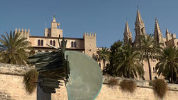 Spain Palma de Mallorca 008 Cathedral towers and fortress Footage