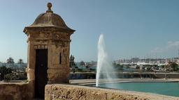 Spain Palma de Mallorca 012 old district Dalt Murada city wall and fountain Footage