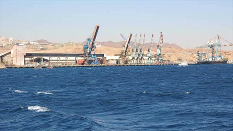 Tracking shot of the Port of Eilat Footage