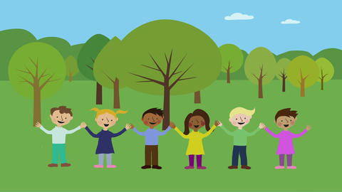Children having fun in park. Animated character with flat design. Childhood frie Animation