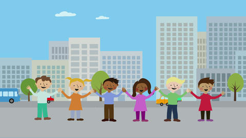 Children in city holding hands. Animated character with flat design. Concept of  Animation