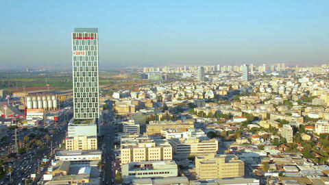 Aerial view of cityscape of Ramat Gan, Bnei Brak and Petah Tikva Footage