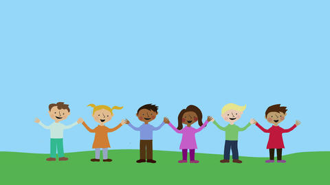 Happy children holding hands. Animated character with flat design. Concept of ch Animation