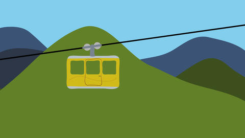 Empty cable car and mountains. Animation in flat design. Concept of transport, m Animation