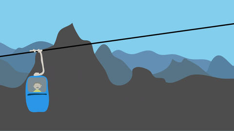 Man riding cable car up a mountain. Animation in flat design. Concept of transpo Animation