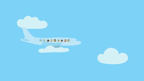 Passenger airplane flying in blue sky with white clouds. Animated character with Animation