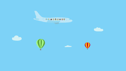 Passenger airplane and hot air balloons flying in blue sky. Animated character w Animation