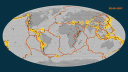 Earthquakes on the bilevel elevation map. Prime meridian: 0 degree Animation