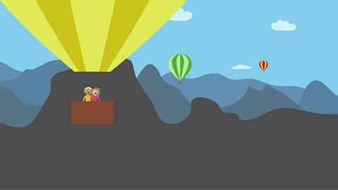 Hot air balloon with happy man and woman flying in nature with mountains. Animat Animation