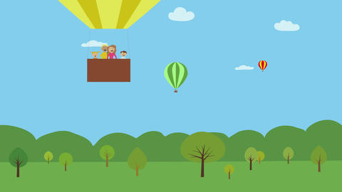 Hot air balloon with family flying over green landscape. Animated character with Animation