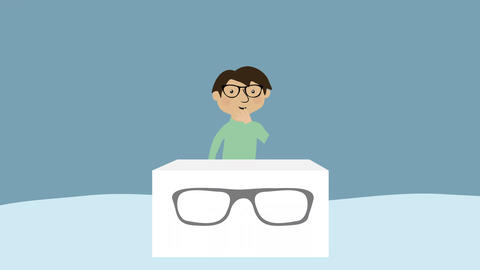 Man trying on different glasses. Concept of choice, decisions and fashion Animation