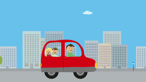 Family with dad and children driving red car in city. Concept of urban traffic,  Animation