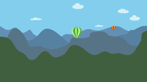 Hot air balloons flying in nature over mountains. Animation with flat design. Co Animation