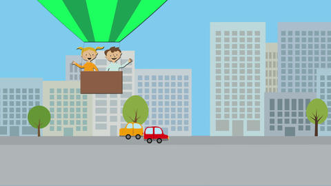 Hot air balloon with young boy and girl flying over city. Animated character wit Animation