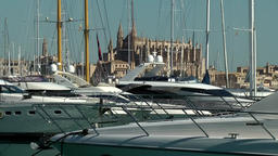 Spain Palma de Mallorca 064 world famous cathedral behind masts of yachts Footage