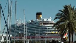 Spain Palma de Mallorca 074 masts of yachts in marina and big passenger ship Footage