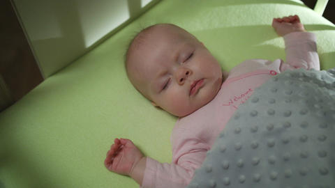 Top View of Sleeping newborn baby dolly shot Footage