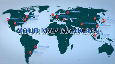 World Map Marker Location Pins Plantilla de After Effects