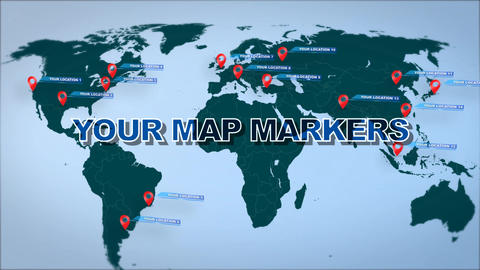 World Map Marker Location Pins After Effectsテンプレート