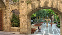 Spain Palma de Mallorca 101 archways in the castle garden Footage