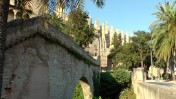 Spain Palma de Mallorca 104 historic city wall walkway below cathedral Footage