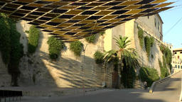 Spain Palma de Mallorca 110 old town Dalt Murada with patterned canopy Footage