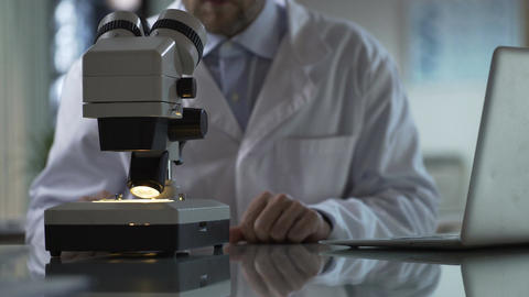 Medical researcher viewing sample under microscope, typing on laptop, science Footage