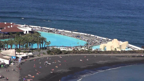 Beach and swimming pool in Tenerife Footage