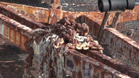 Rusted iron chains on rusty ship trailer Footage