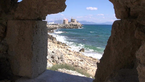 Ancient stronghold by the sea in Rhodes island Footage