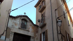 Spain Palma de Mallorca 116 old corner house and church portal in Dalt Murada Footage