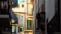 Spain Palma de Mallorca 117 light and shadow in an old town alley Footage