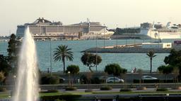 Spain Palma de Mallorca 120 Italian cruise ship MSC Divina in harbor Footage