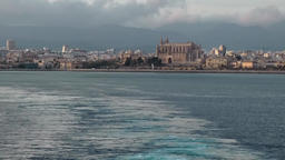 Spain Palma de Mallorca 126 Gothic style Cathedral seen from sea Footage