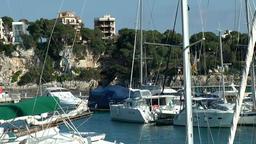 Spain Mallorca Island small town Porto Cristo 002 yachts and boats in marina Footage