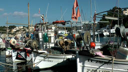 Spain Mallorca Island small town Porto Cristo 005 fishing boats in one row ビデオ