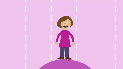 Woman and arrows. Concept of decision, path and business strategy. Animated char Animation