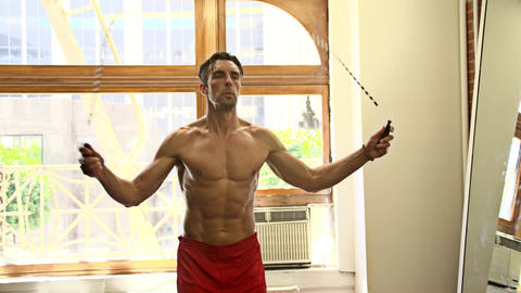 Workout With A Jump-Rope Footage